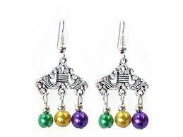 mardi gras earrings mardi gras color pearl chandelier hook earrings yf30359mdg2