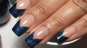 try this gorgeous chevron french tip water marble nail design