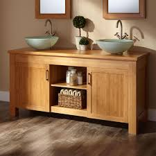 Jindra Bamboo Double Vessel Sink Vanity Bathroom - Bathroom vanities double vessel sink