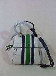 nwt burch stripe ivory leather small half moon satchel