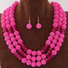 beads necklace sets images Beautiful three layers crystal beads mix necklace earrings set jpg