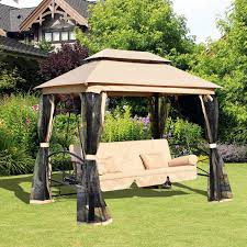Sunshade Awning Gazebo Outsunny Outdoor 3 Person Patio Daybed Canopy Gazebo Swing Chair