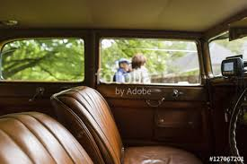 Brown Car Interior Brown Leather Interior Of A Classic Vintage Car On Display In A