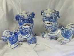blue foo dogs pair of porcelain foo dogs ceramic guardian lions cobalt