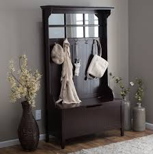 Entryway Bench Furniture Bench Coat Rack With Bench And Mirror Tall Espresso Wood