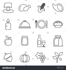 thanksgiving family dinner icons thin stock vector