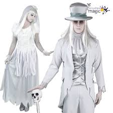 ladies mens couples halloween white ghost bride groom fancy dress