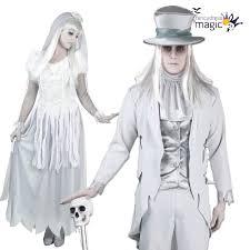 Halloween Bride Groom Costumes Ladies Mens Couples Halloween White Ghost Bride Groom Fancy Dress