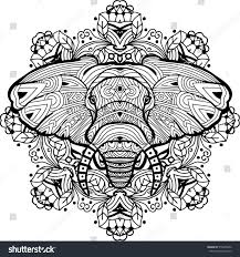 monochrome handdrawn ink drawing painted elephant stock vector