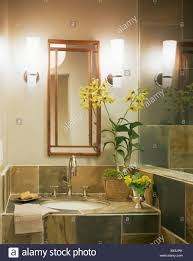 wall lights on either side of rectangular mirror above basin in