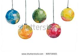 several treecolored multicolored balls painted stock