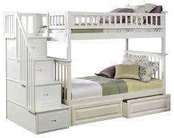 bedroom elegant white solid wood twin over twin bunk bed with