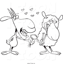 royalty free cartoon of a black and white sweet goat giving a