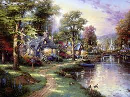 thomas kinkade lighted pictures drawing painting thomas kinkade along the lighted path picture