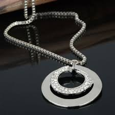 double circle long necklace images Hot sale simple gold double chain necklace crystal round pendant jpg