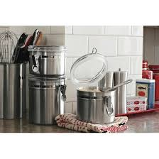 stainless kitchen canisters stainless steel 4pc canister set with lid silver threshold target