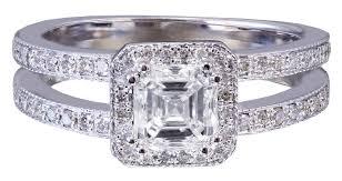 asscher cut diamond engagement rings 14k white gold asscher cut diamond engagement ring halo art deco