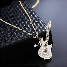 guitar pendant necklace images Punk rock music guitar pendant necklace for women or men jpg