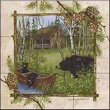 kitchen mural backsplash ceramic tile mural log cabin by phillips kitchen