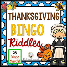 thanksgiving bingo riddles by speech sprouts tpt