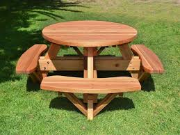 Octagonal Picnic Table Project by Stylish Wooden Picnic Tables For Vacation Inhabit Zone