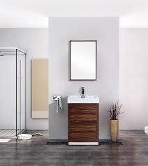 In Stock Bathroom Vanities 24 Walnut Floor Mount Modern Bathroom Vanity Intended For In Stock