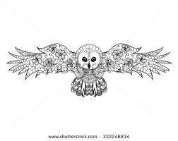 Patterned Flying Owl Drawing Illustration Owl Black White Doodle Stock Vector 332246834