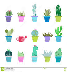 houseplant vector icon set cute cactus plant in pots isolated on
