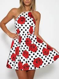 mini dress white red roses black polka dots