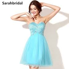 cheap 8th grade graduation dresses sky blue homecoming prom gowns beaded tulle cheap 8th grade