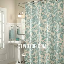 Teal Bird Curtains Saga Green Flower And Birds Patterned Best Unique Shower Curtains