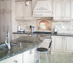 Everything Tuscany Mural With Italian Chef In Stacked Stone - Layered stone backsplash
