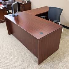 L Shape Office Desk Used Ofd 66 Right L Shaped Office Desk Mahogany Del1546 002