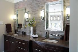 Bathroom With Black Walls With Dark Vanity Cabinet And Grey Wall Tiles Bathroom Also Modern