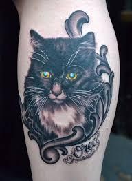 cat portrait black and grey tattoo by diego tattoonow
