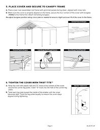 10 X 5 Canopy by Place Cover And Secure To Canopy Frame Tighten The Cover With
