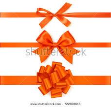 decorative ribbons set decorative orange bows horizontal orange stock vector
