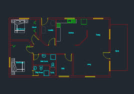 Double Story House Floor Plans Single Story Small House Plan 04 Dwg Net Cad Blocks And House