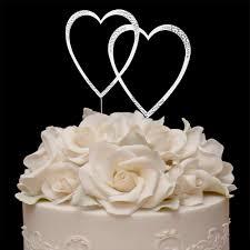 heart wedding cake toppers sparkle heart swarovski cake topper weddedglitz