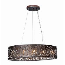 Oval Pendant Light Inca Bronze Pendant Light With Oval Shade E21310 10bz