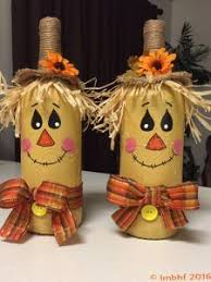 Homemade Scarecrow Decoration My Take On Scarecrow Decorated Wine Bottles So Fun To Make