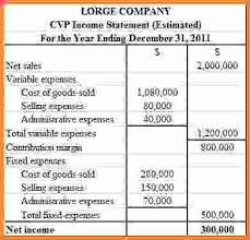 cvp income statement sales report template