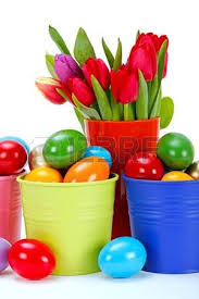 painted easter buckets easter symbols colorful painted eggs tulips in and