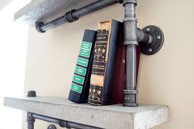 Industrial Pipe Bookcase Chic Concrete And Pipe Shelves Tutorial