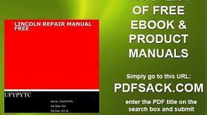 lincoln repair manual free video dailymotion