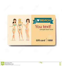 discount gift card women dressed in swimsuit sale discount gift card stock vector
