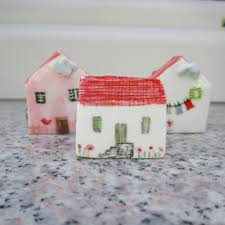 little ceramic house little clay house cute small house white