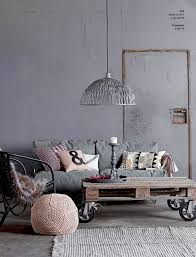 living room love the grey wall and pendant light soft colours