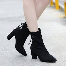 womens high heel boots australia boots square heel flock ankle boots martin high heels