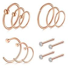 gold piercing rings images D bella rose gold nose rings hoop 8 10 12mm 16g septum jpg
